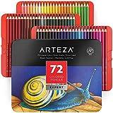 Arteza Lápices de colores profesionales para adultos y niños, Juego de 72, Estuche portátil de latón, minas resistentes a las roturas, Lápices para colorear, dibujar y sombrear
